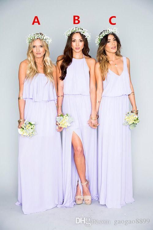 47b05d85d51 2016 Lavender Chiffon Long Bridesmaid Dresses Ruffles Mumu Bohemian Floor  Length Summer Beach Wedding Party Evening Dresses Bridesmaid Dress  Bridesmaid ...