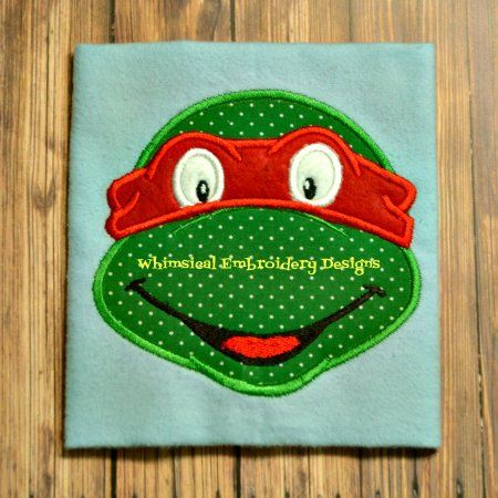 Teenage Mutant Ninja Turtle Face Machine Embroidery Applique Design