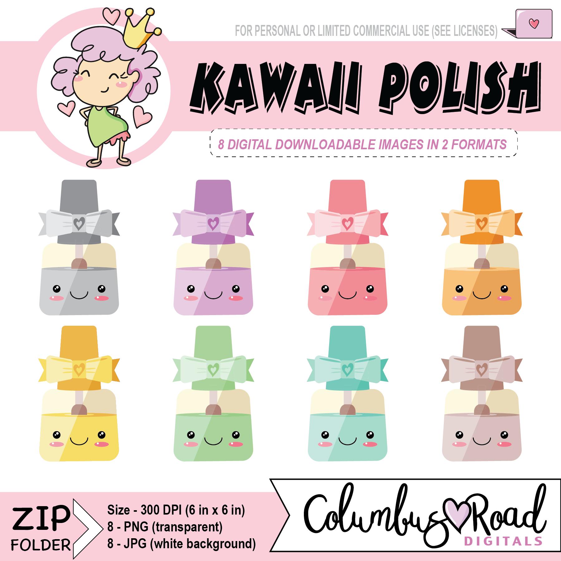 kawaii nailpolish digital downloadable clipart kawaii fingernail polish goodnotes art [ 1800 x 1800 Pixel ]