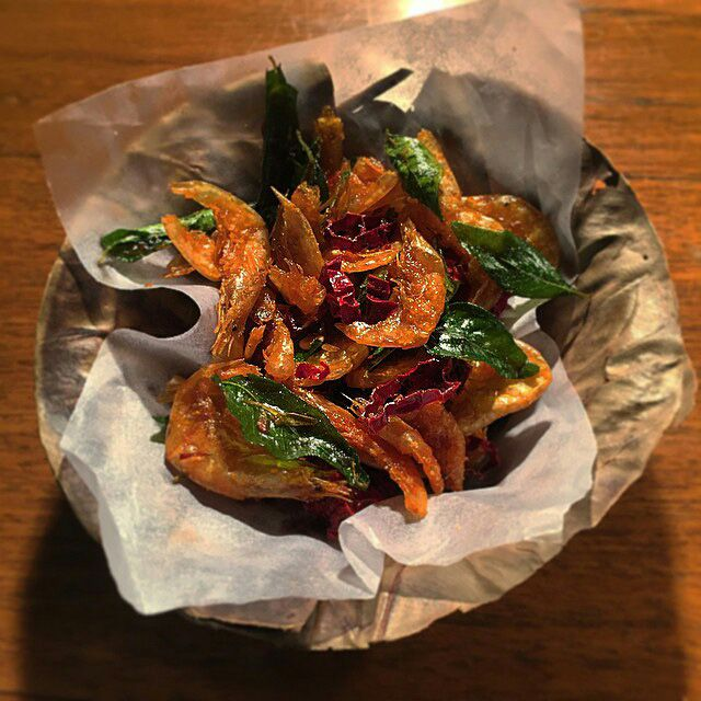 Curry leaves, ginger prawns, grilled lime.