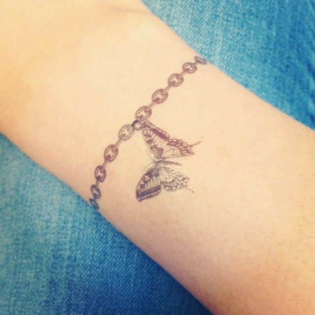 The Charm Bracelet And Then Added On The Butterfly And Kettle Charm Wrist Bracelet Tattoo Ankle Bracelet Tattoo Wrist Tattoos For Women