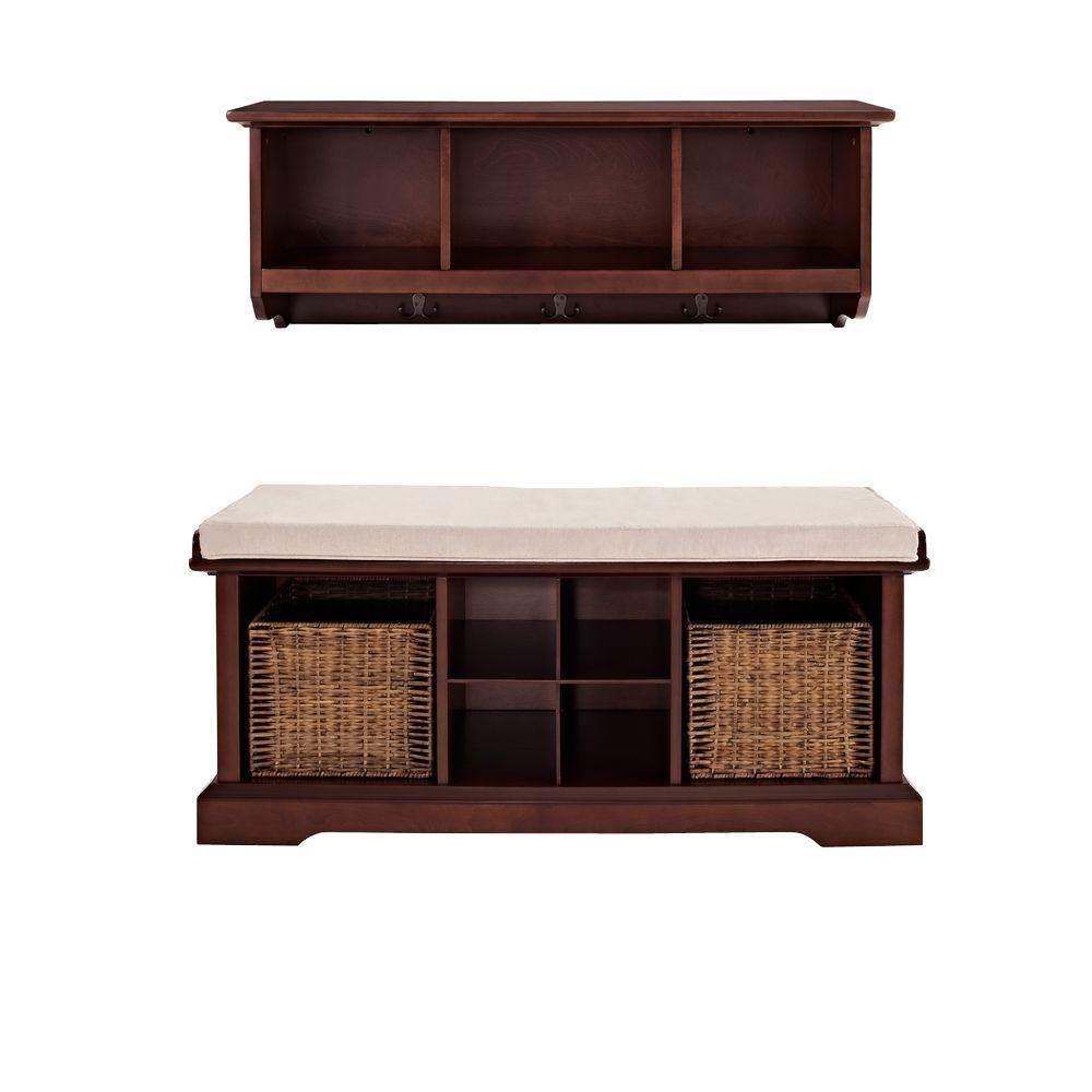 Crosley Brennan Entryway Bench With Shelf Set In Mahogany Kf60001ma Entryway Bench Entryway Bench Storage Entryway Storage