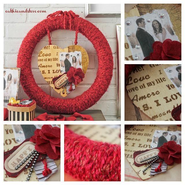 Valentine Wreath Mod Podge and Yarn