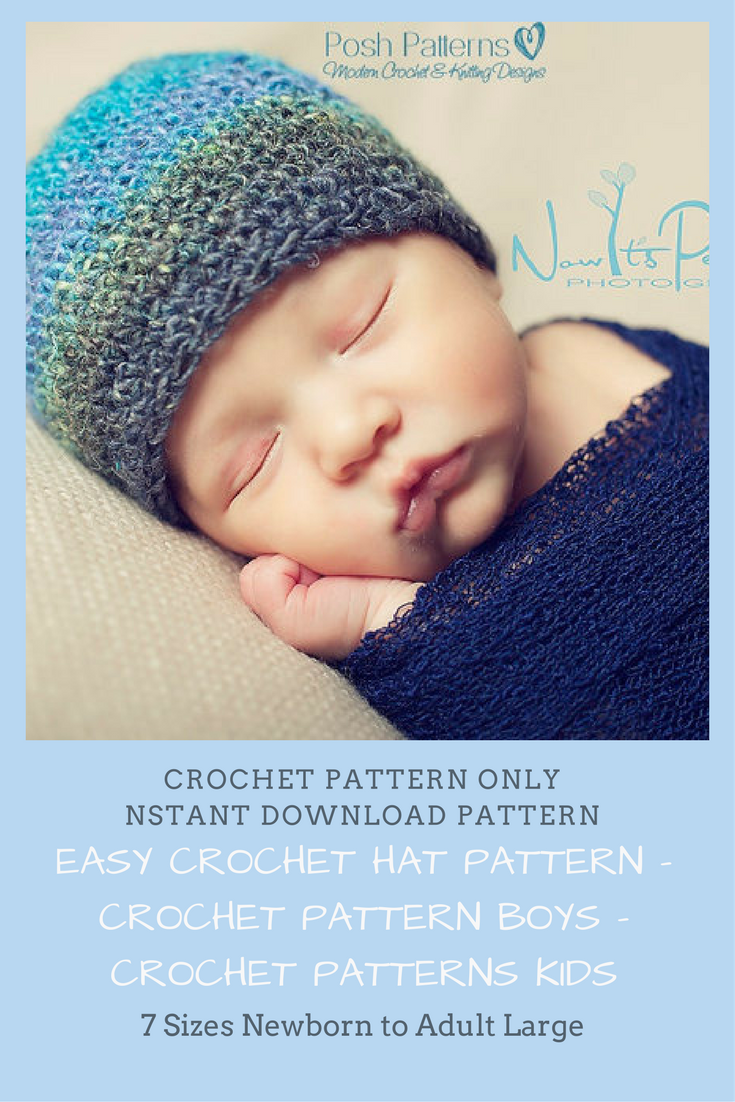 Easy Crochet Hat Pattern - Crochet Pattern Boys - Crochet Patterns ...