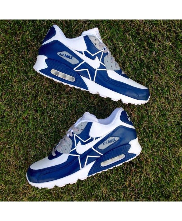 Nike Air Max 90 Custom Dallas Cowboys White Dark Blue Mens Trainers ... 97ca6b468