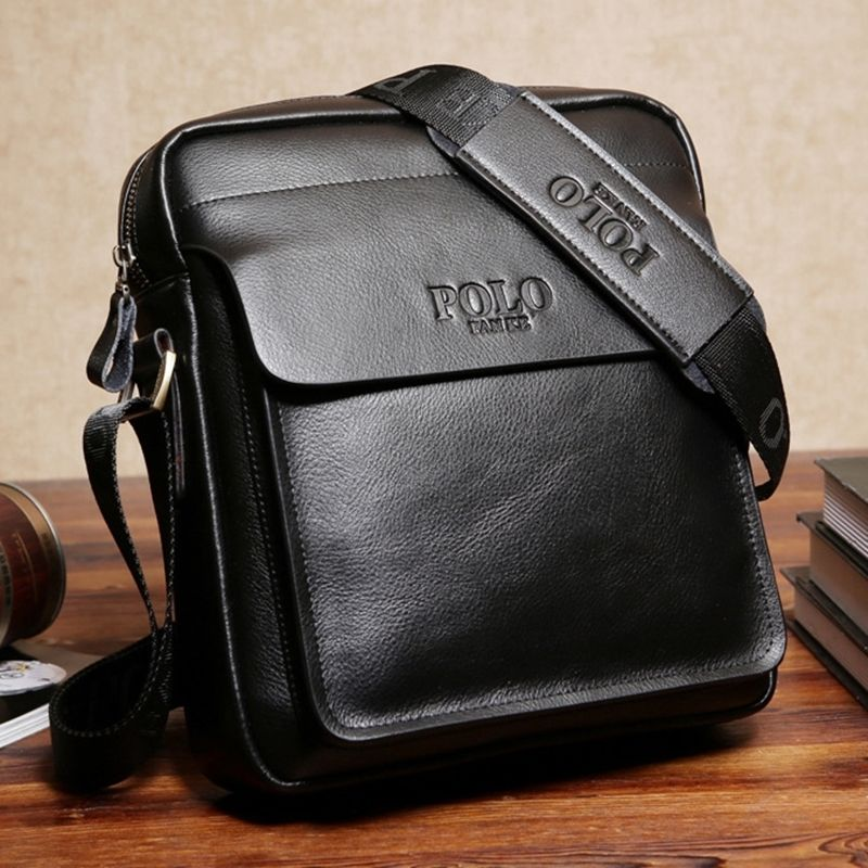 Men/'s Shoulder Messenger Bag Male Leather Crossbody Bags POLO Travel Briefcase