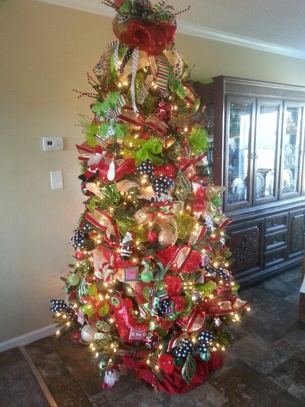 how to put wide mesh ribbon on a christmas tree