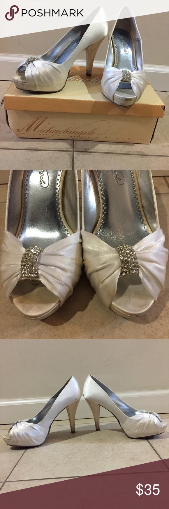 Michaelangelo wedding dress  Michaelangelo White Peep Toe Heeled Wedding Shoes Please note the