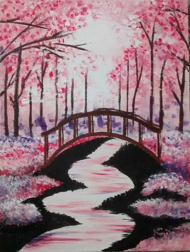 Bridge under cherry blossoms acylic on water color paper for Canvas painting of cherry blossoms
