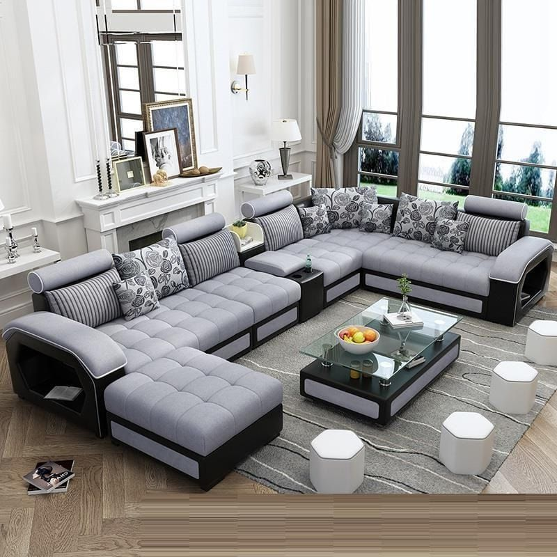 Living Room Design With L Shaped Sofa In 2020 Living Room Sofa Set Modern Sofa Living Room Luxury Sofa Design
