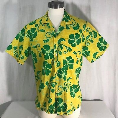 ac75bbdcc NWOT Jade Fashions Mens Hawaiian Shirt L Yellow Green Hibiscus Floral Aloha  USA