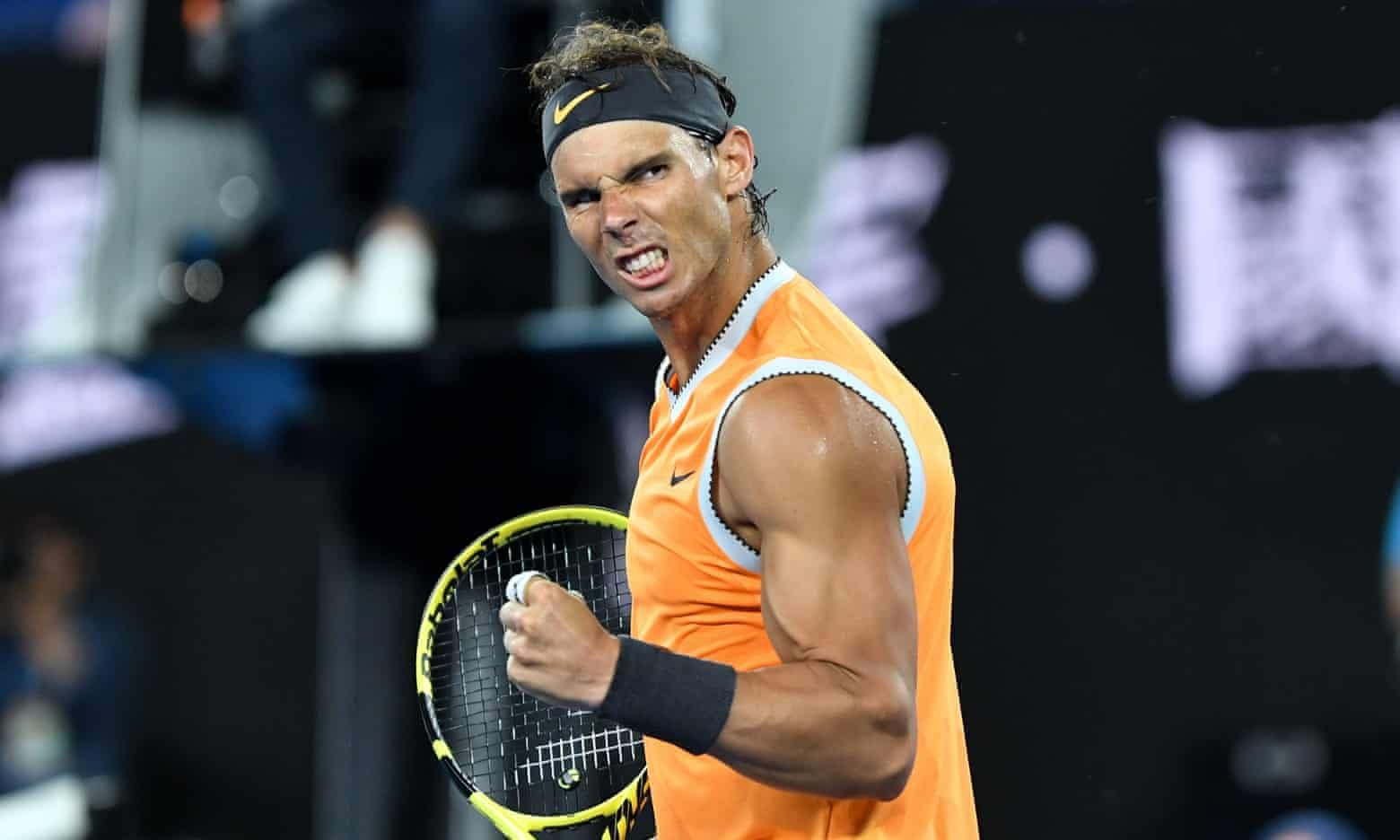 Rafael Nadal Celebrates During His Crushing Win Over The American Frances Tiafoe In The Australian Open Quarter Finals Rafael Nadal Tennis Lessons Tennis Team
