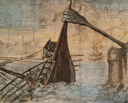 "A 17th centuiry painting of the Claw of Archimedes by Giulio Parigi, taking the name ""iron hand"" literally.  #technology #ancientwarfare #archimedes"