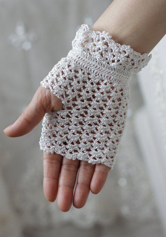 DESPACHO guantes de encaje blanco mano Crochet por SENNURSASA ...