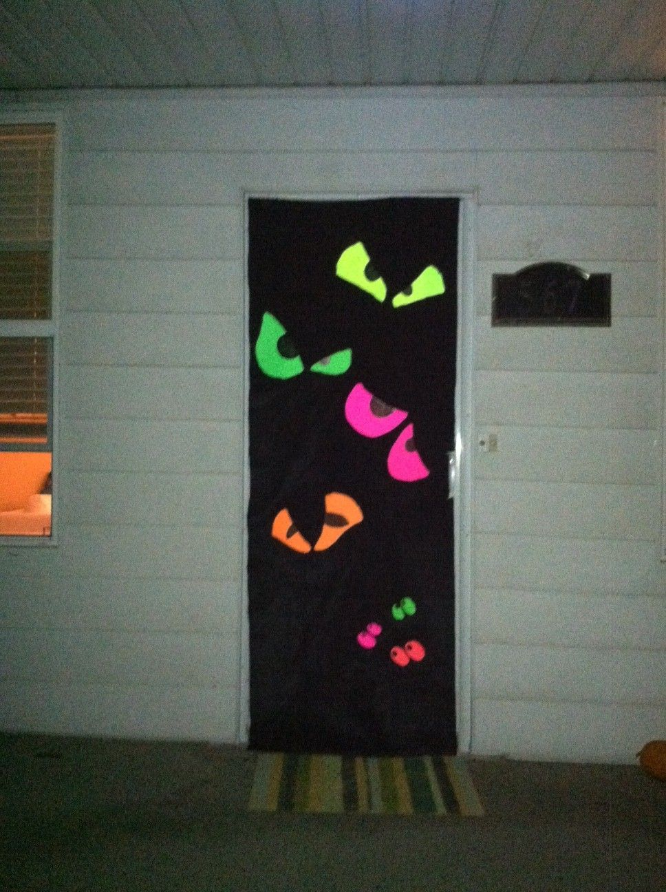 Monster Halloween Door. I  Found it here on Pinterest! #halloweendoordecor