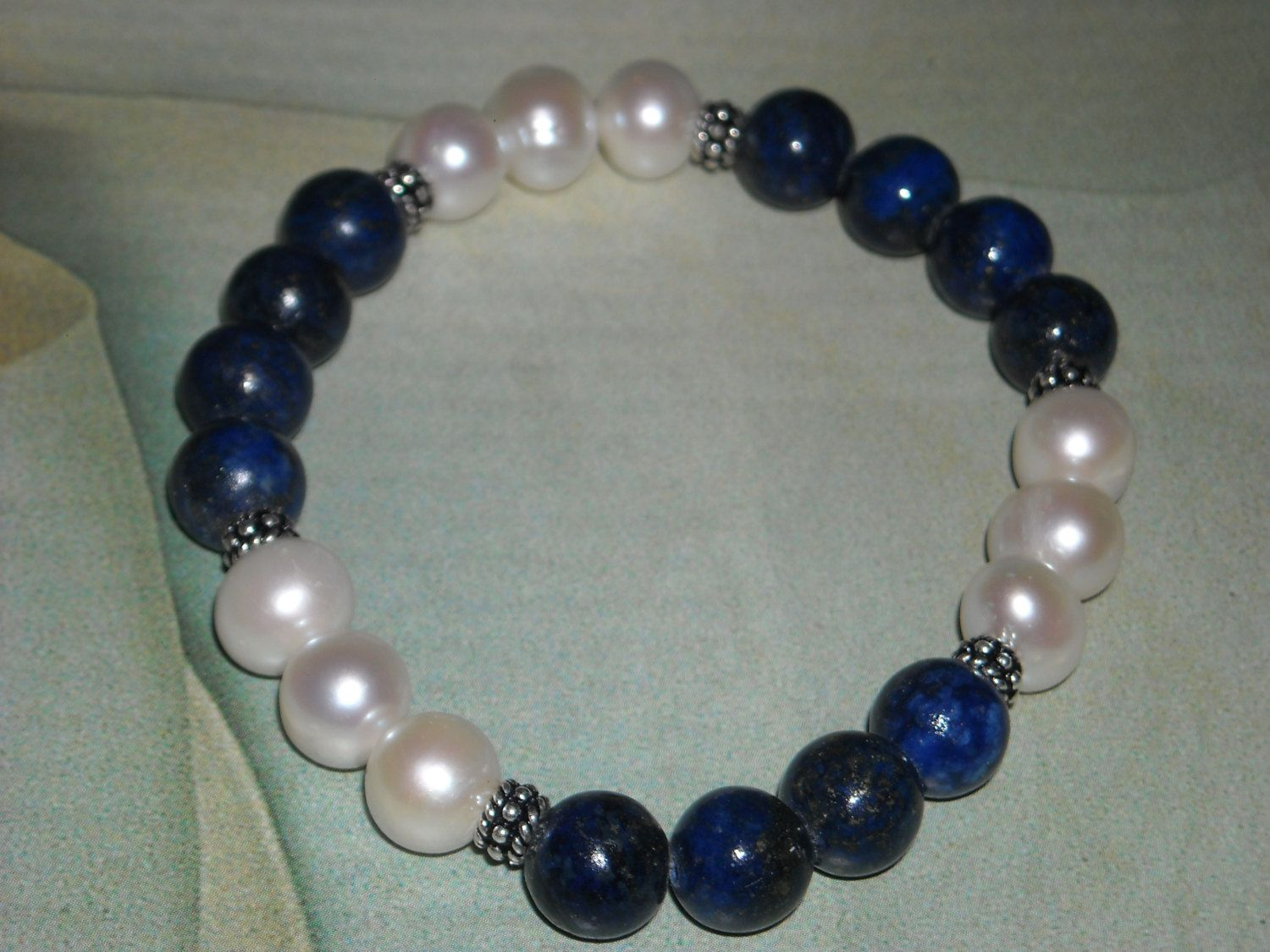 Lapis And Freshwater Pearl Stretch Bracelet  Moon And Stars  Lapis  Bracelet Calming Inner Peace
