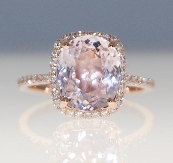 3.2ct cushion mauve blush ice peach champagne sapphire 14k rose gold diamond  ring engagement ring