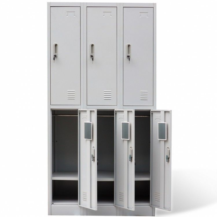 Metal Locker Cabinet Storage Gym Sports School Changing Room Staff 6 Doors  Shelf