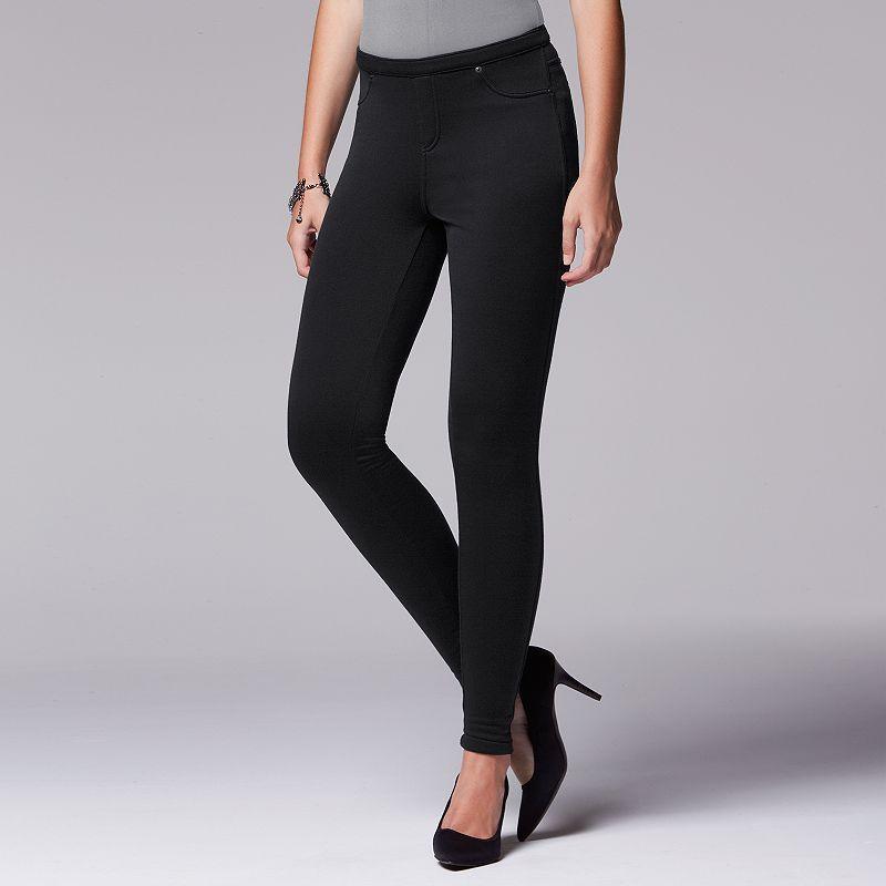 Simply Vera Vera Wang Fleece-Lined Leggings, Women's, Size: Large, Black