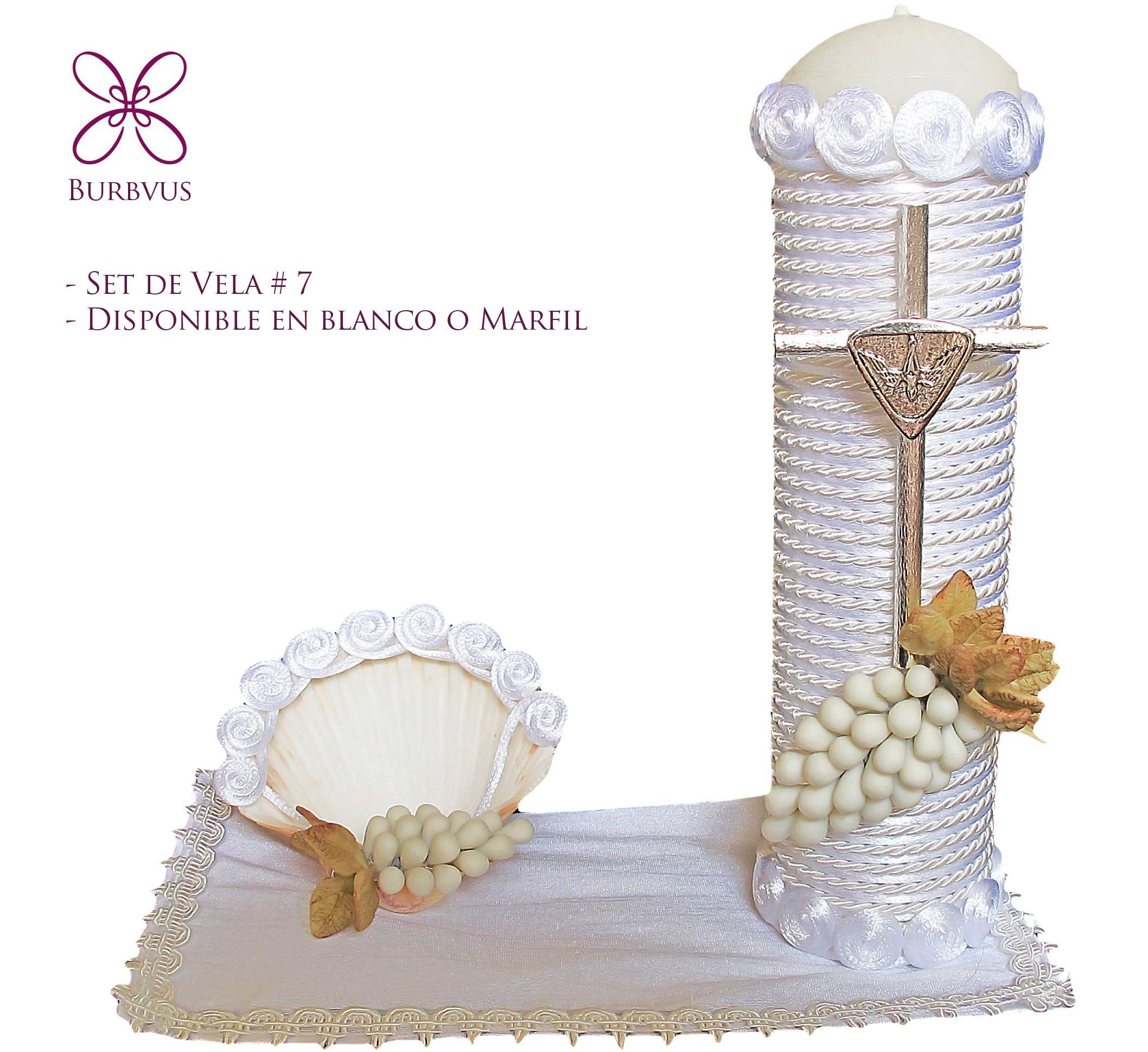 Kit de vela para bautizo 7 Color blanco tambien disponible en
