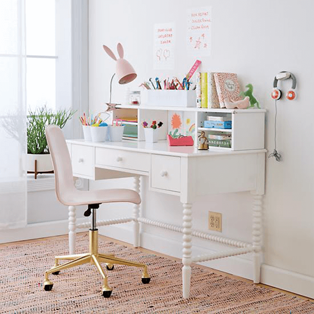 Benjamin Moore Pink Bliss Concepts And Colorways Desk For Girls Room Gold Desk Chair Pink Desk Chair