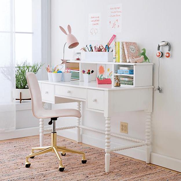 BENJAMIN MOORE PINK BLISS Pink desk chair, Gold desk
