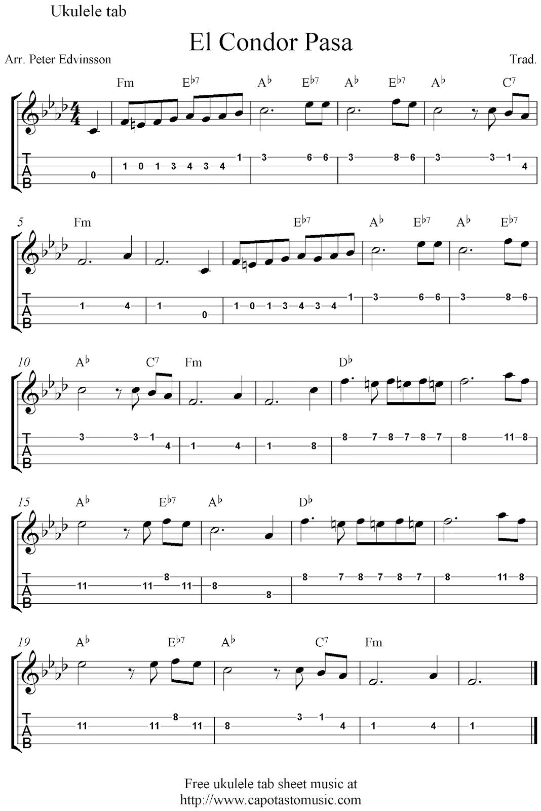 El condor pasa chords mandolin