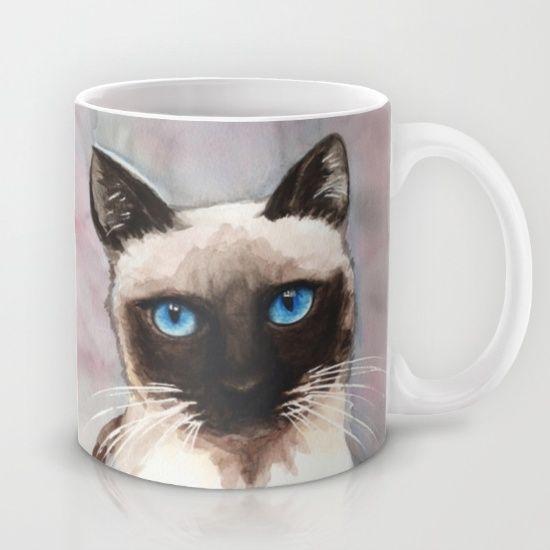 Watercolor Cat 06 Blue Eyes Cat Mug by Kathleen Wong - $15.00
