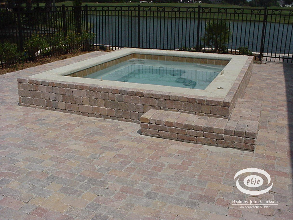 In Ground Hot Tub Designs Built In Fiberglass Hot Tub With Paver Exterior Small Pools Backyard Hot Tub Pergola In Ground Spa