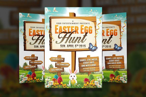 Easter Egg Hunt 2 - Flyer Template Flyer template, Template and