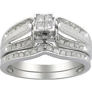 1 3 Carat T W Diamond Quad Design Bridal Set In 10kt White Gold Bridal Ring Sets Cheap Wedding Rings Sets Walmart Wedding Rings