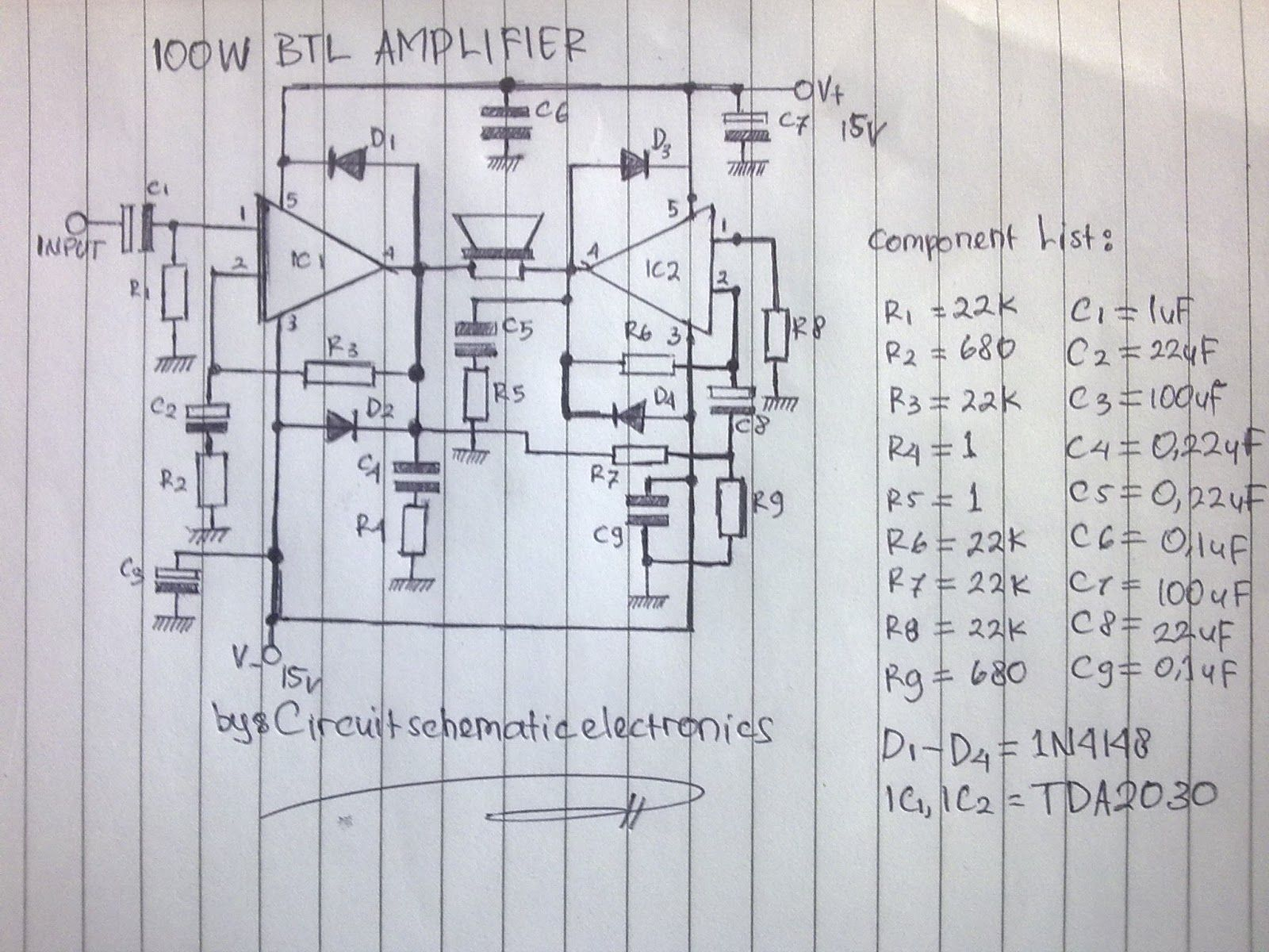 100W BTL TDA2030 amplifier circuit