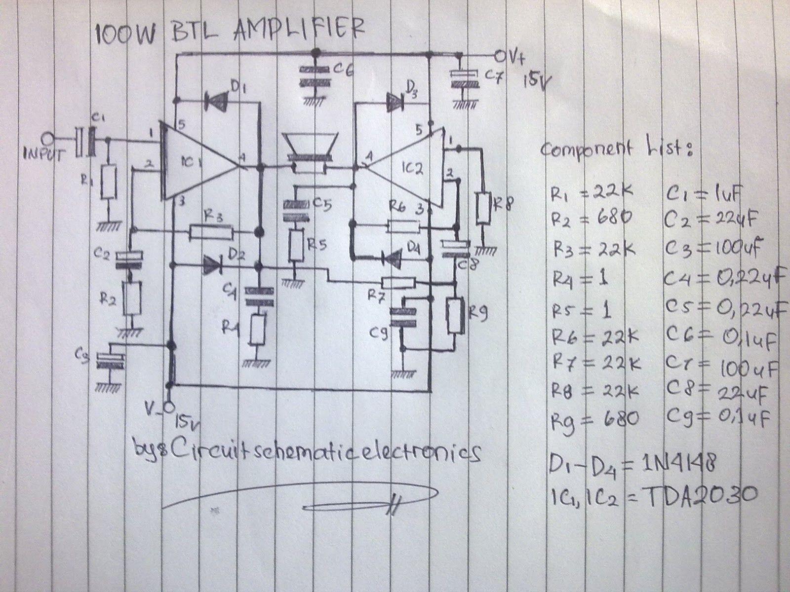 100w btl tda2030 amplifier circuit [ 1600 x 1200 Pixel ]