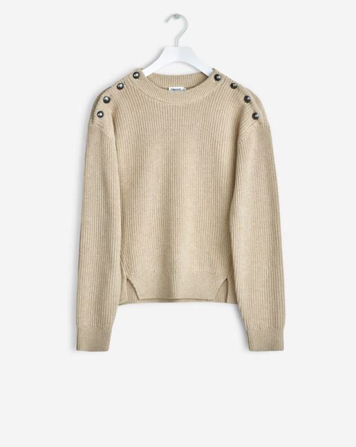 Cropped Pullover with slanted slits at front and button detailing at shoulders. Comfortable and classic cotton wool rib.  <br><br> - Organic Cotton<br> - Metal buttons on shoulders<br> - Cropped fit<br><br> The model is 177cm and wears size S.