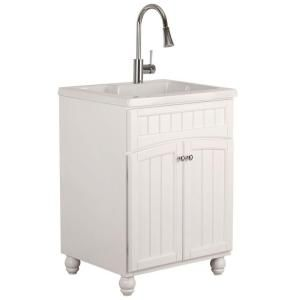 Shelton 24 in. Laundry Sink With Cabinet in White - Home Depot ...