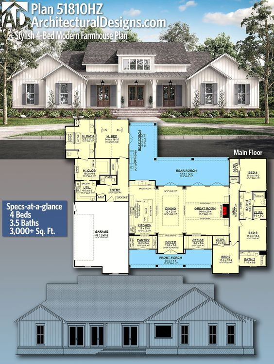 Plan 51810HZ Stylish 4Bed Modern Farmhouse Plan with Vaulted Master Suite4bed