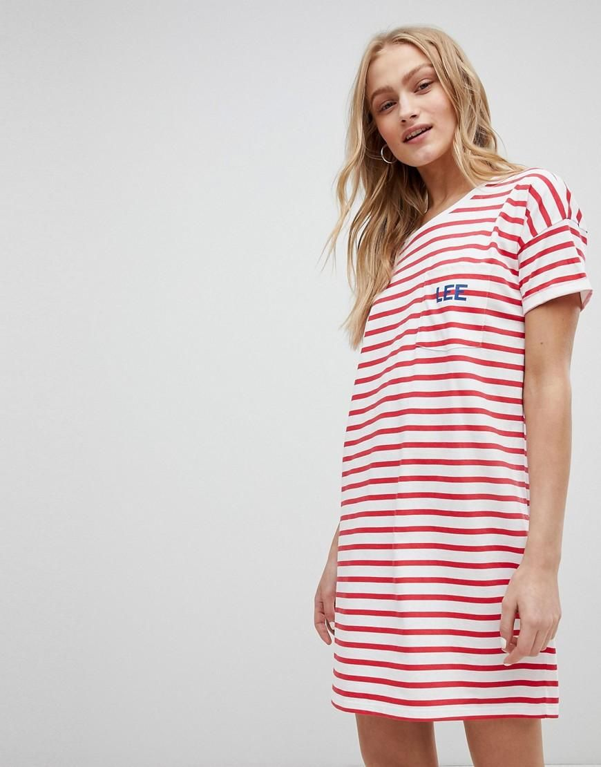 363049e37a958  Spring  AdoreWe  ASOS -  Lee Lee Stripe Logo T Shirt Dress - Red -  AdoreWe.com