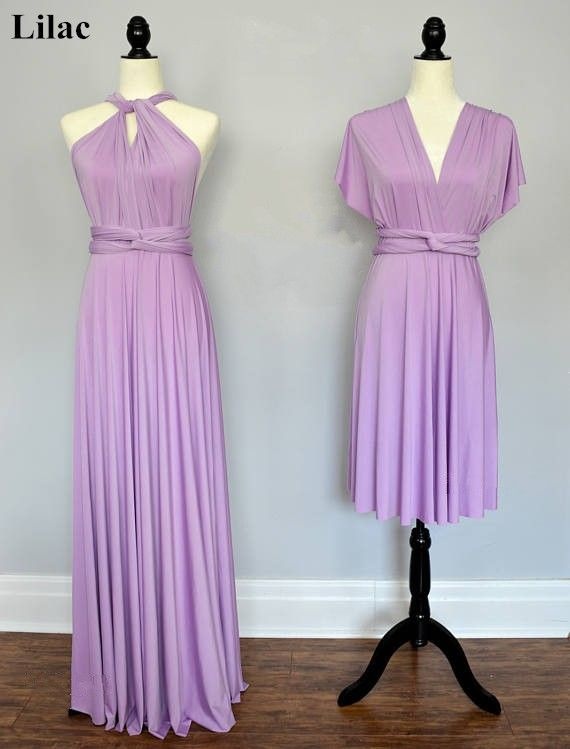 fa4e8d2cac6 Lilac Spandex Short Convertible Bridesmaid Dress