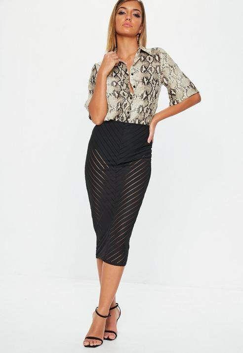 8115428bc8 Black Chevron Mesh Midi Skirt | Products | Skirts, Midi Skirt ...