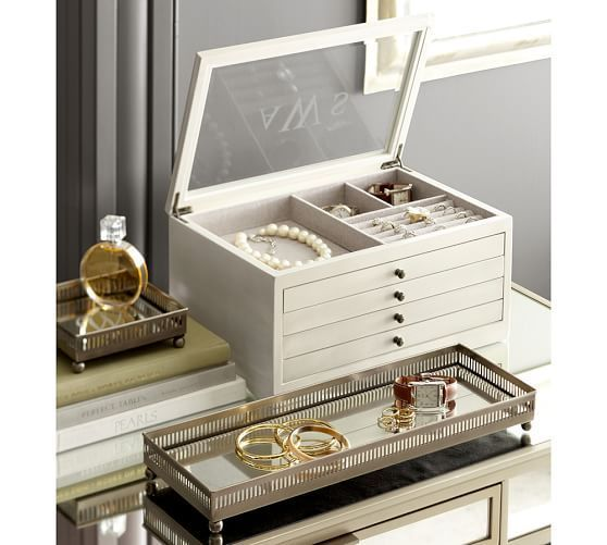 Mirrored Dresser Top Trays Pottery Barn Leather