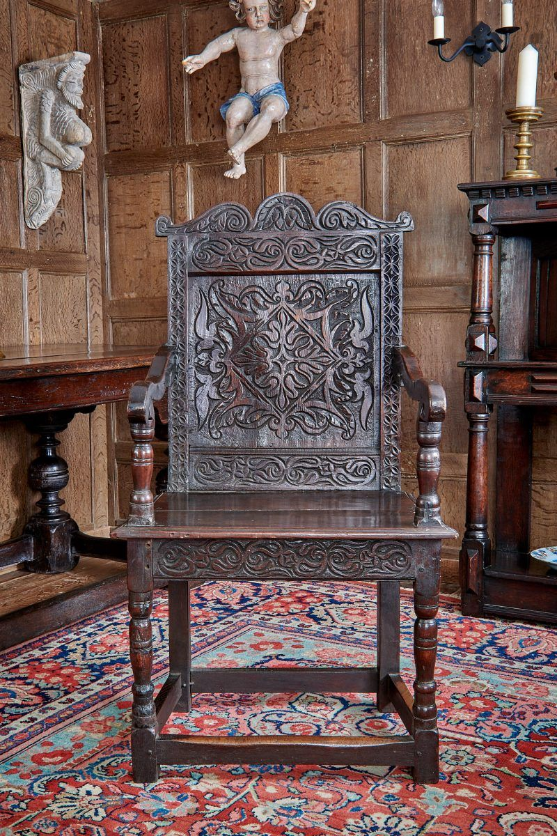Charles Ii Exeter Carved Oak Armchair Marhamchurch Antiques Oak Armchair Antiques Antique Chairs