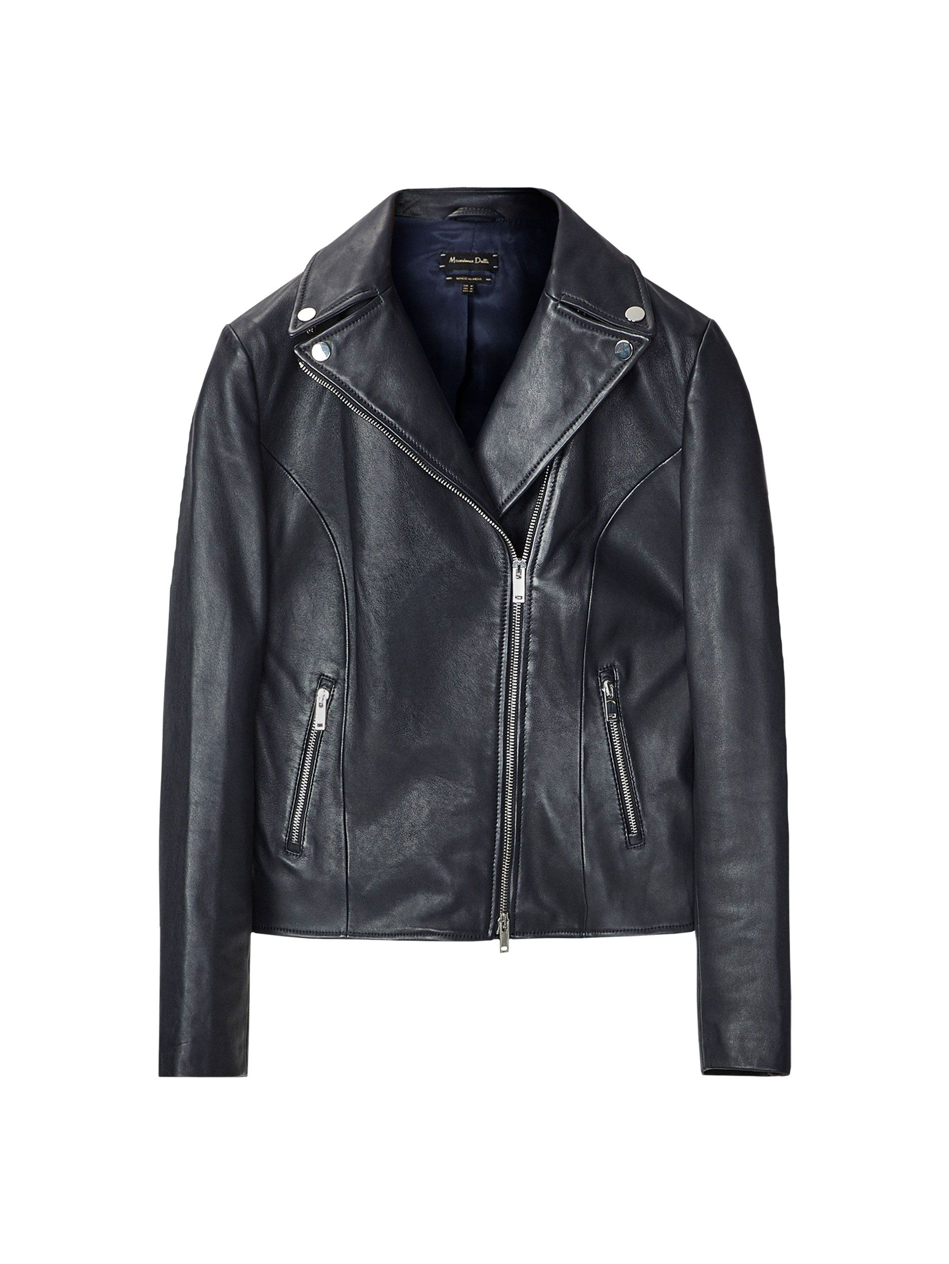 Tailored, blue, nappa biker jacket made of high quality sheepskin leather. Features notched lapels with snap buttons, double breasted two zip fastening, two side zip pockets, long sleeves with hidden snap buttons at the cuffs and a lined interior. The length of the back of the garment for a size M is 54.5 cm.