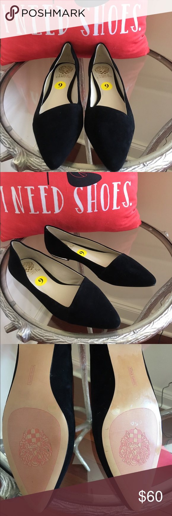 VINCE CAMUTO SUEDE FLATS NEVER WORN VINCE CAMUTO BLACK SUEDE FLATS WITH GOLD TRIM ON HEELS!  THESE FLATS ARE STUNNING! Vince Camuto Shoes Flats & Loafers