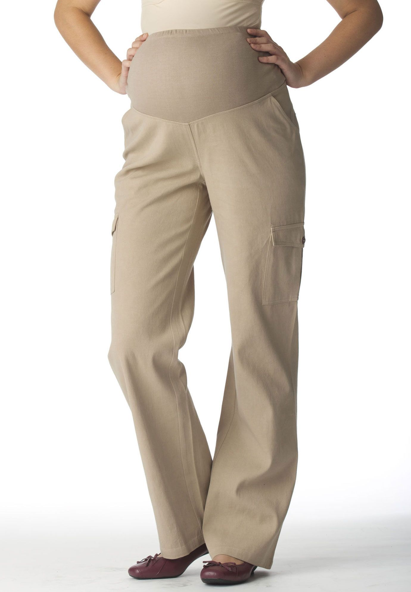 2cd1c8ff06dc1 Woman Within Plus Size #Maternity Cargo Pants.The style of the season,  restyled for full-term use! Our plus size maternity cargo pants feature a  3' knit ...