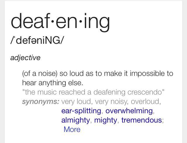Defeaning Words Adjectives Synonym