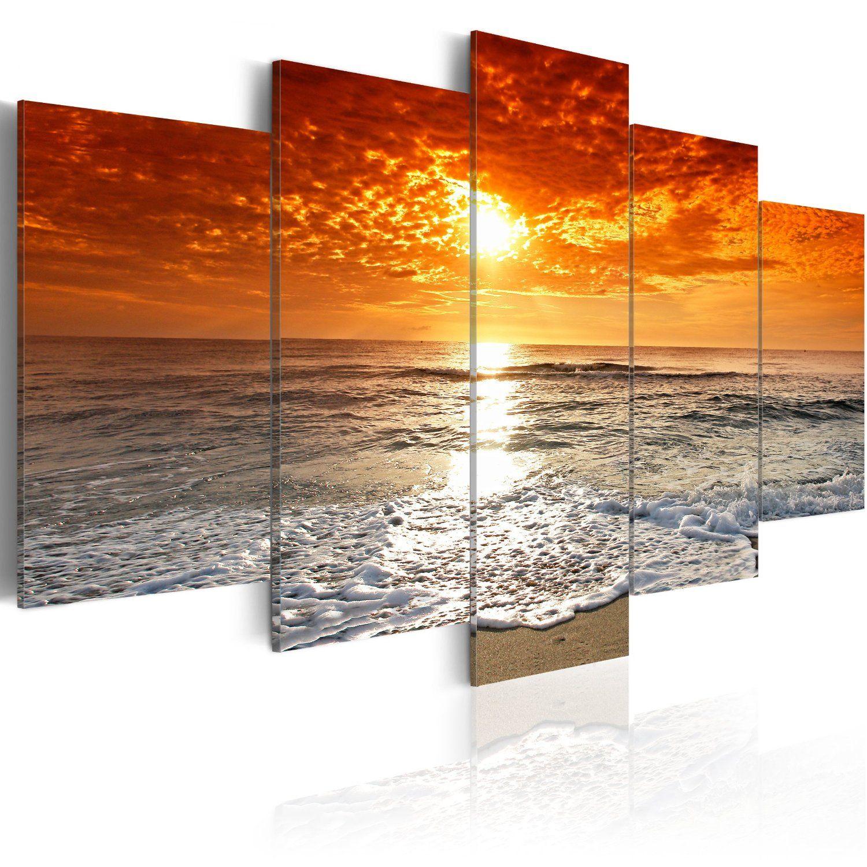 200x100 xxl format bilder xxl fertig aufgespannt top vlies leiwand 5 teilig sea. Black Bedroom Furniture Sets. Home Design Ideas