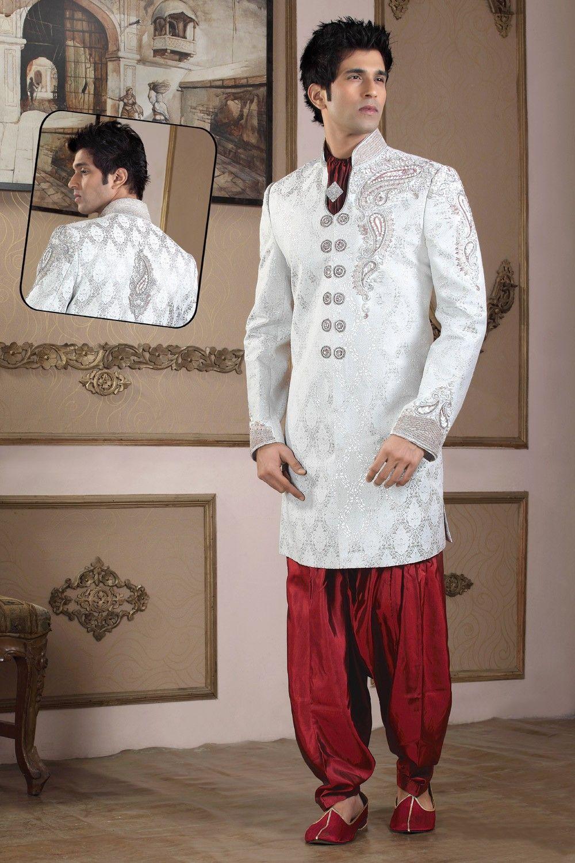 Off white maroon silk sherwani uc buy now