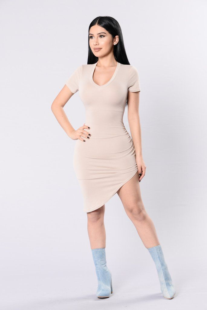 Don't Waste My Time Dress – Nude