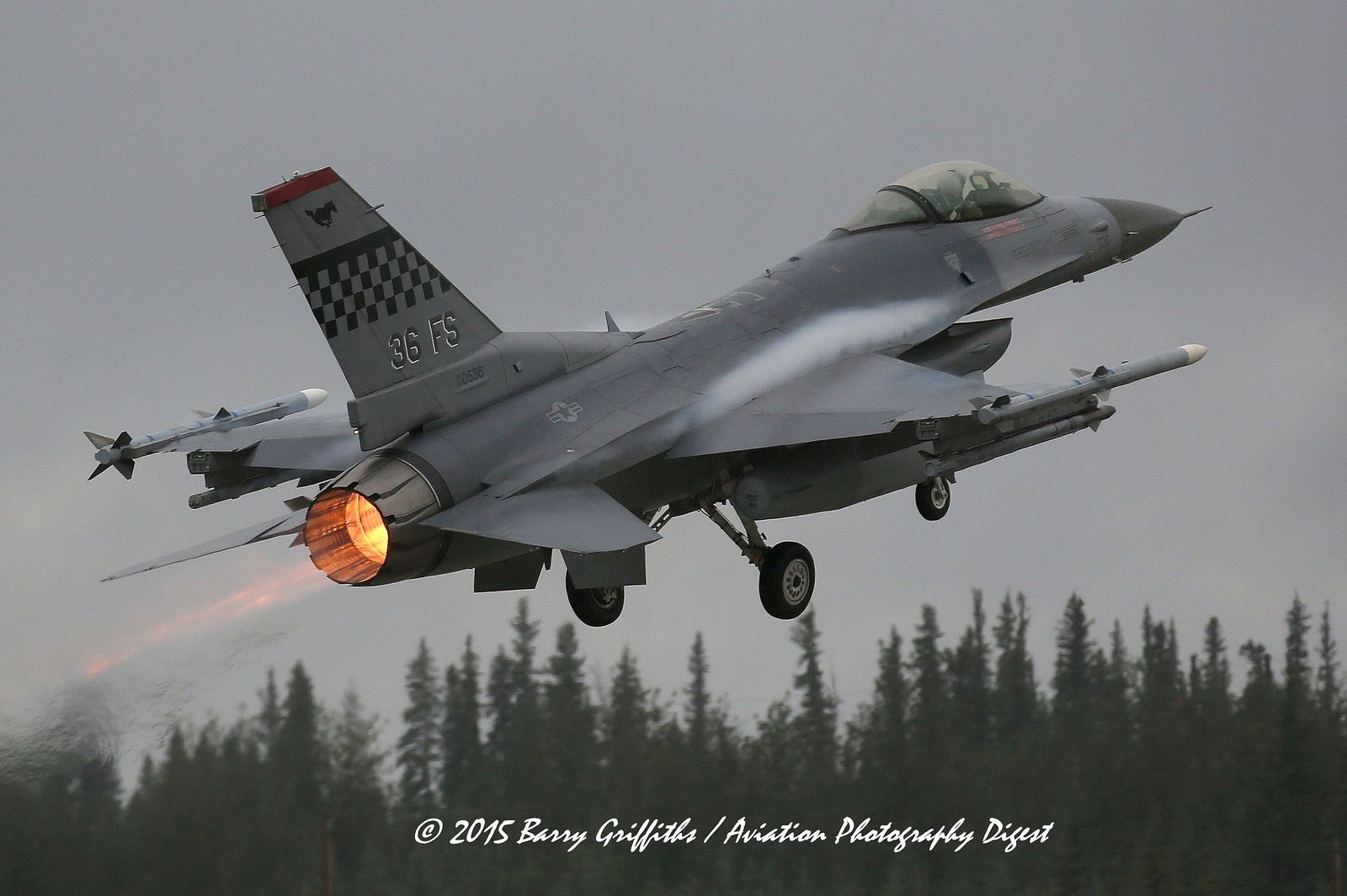 "LAUNCH: RED FLAG-ALASKA 15-3 General Dynamics F-16C Viper s/n 88-0536 USAF 36th FS ""Flying Fiends"" 51st FW Osan AB, South Korea"