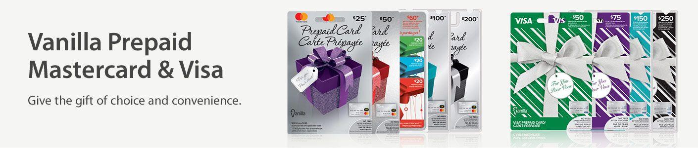 Vanilla prepaid mastercard visa cards walmart canada